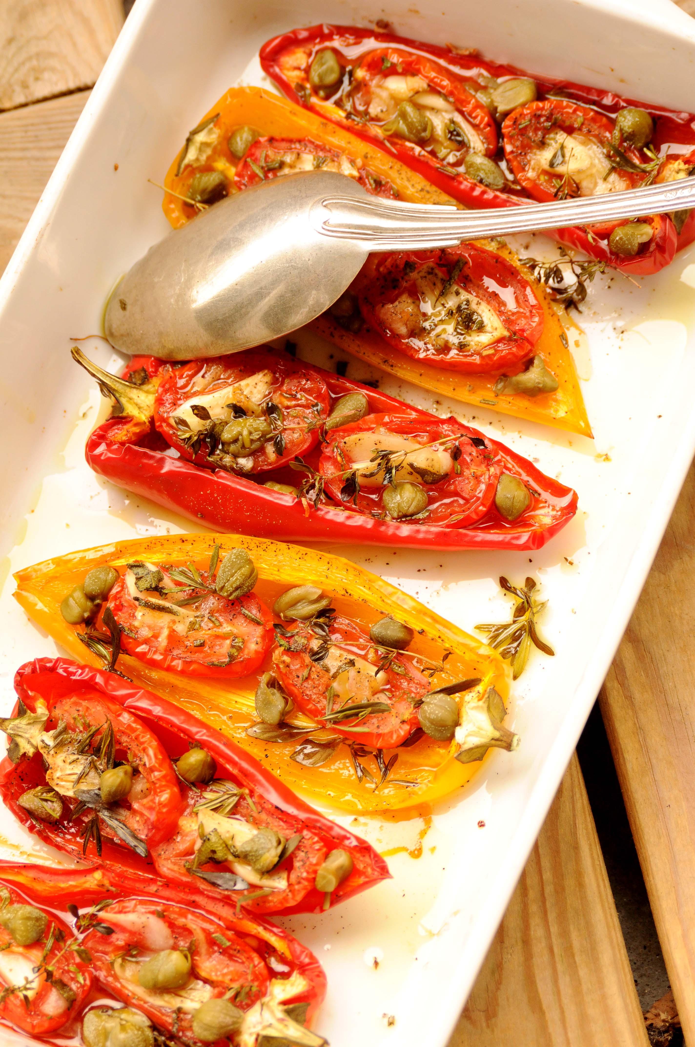 langtidsbagte peberfrugter med tomater | Kødfri fredag