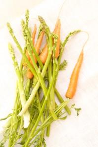 asparges og gulerødder