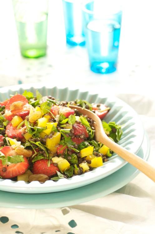 jordbærsalat m linser