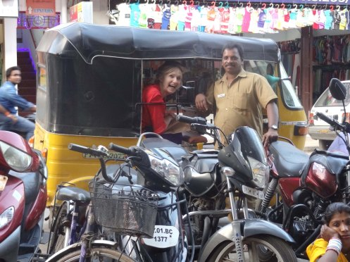 Pondicherry.Bente i tuktuk