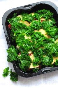 grønkåls- og kartoffellasagne.e